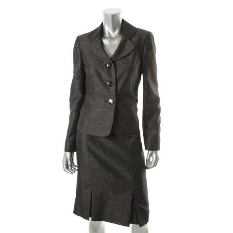 Le Suit Womens Skirt Suit Shimmer Long Sleeves - Black/Champagne - 14