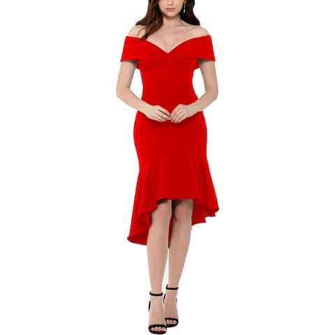 Xscape Womens Cocktail Dress Off-The-Shoulder Hi-Low - Red