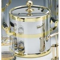 Kraftware 70194 Shiny Chrome with Brass 3 Quart Ice Bucket with Wood Side handles  Bands and Metal Cover
