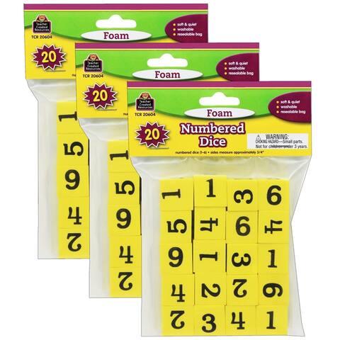 Foam Numbered Dice (1-6), 20 Per Pack, 3 Packs