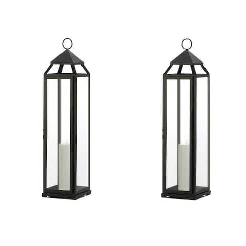 Set of 2 Black Iron Extra Lean Candle Lanterns