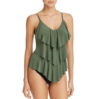 Magicsuit by Miraclesuit Womens Rita Tiered Ruffled Tankini Top 8 Green
