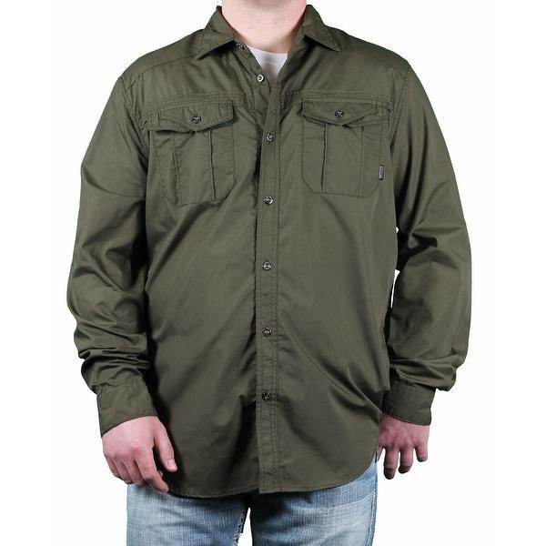 MO7 Men's Solid Long Sleeve Woven Shirt