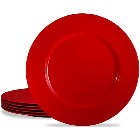"Calypso Basics by Reston Lloyd Melamine Salad Plate, Set of 6, Red - 11""D and center of plate is 7 1/4""D"