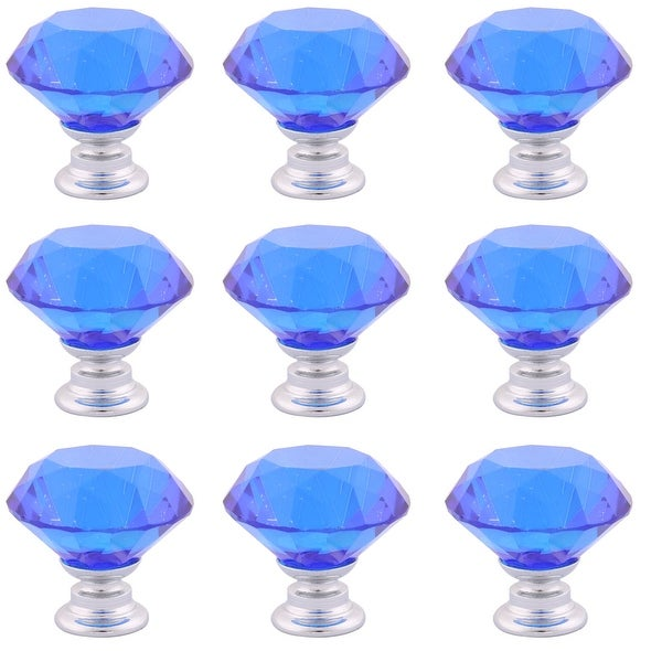 Household Crystal Glass Furniture Drawers Cabinet Knobs Blue 1.2 Inch Outer Dia 9 Pcs