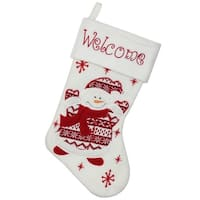 "15.75"" Red and White ""Welcome"" Snowman Embroidered Christmas Stocking"