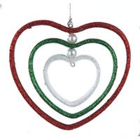 "4"" Nested Red, Green and White Glittered Heart Christmas Ornament - multi"