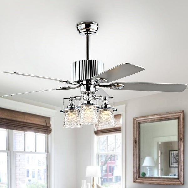 """Safavieh Lighting 52-Inch Parlin Ceiling Light Fan (with Remote) - 52"""" W x 52"""" L x 26"""" H"""