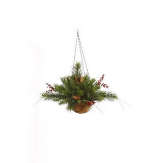 "12""x20"" Mixed Berry Cone Hang Basket 61T - Green"