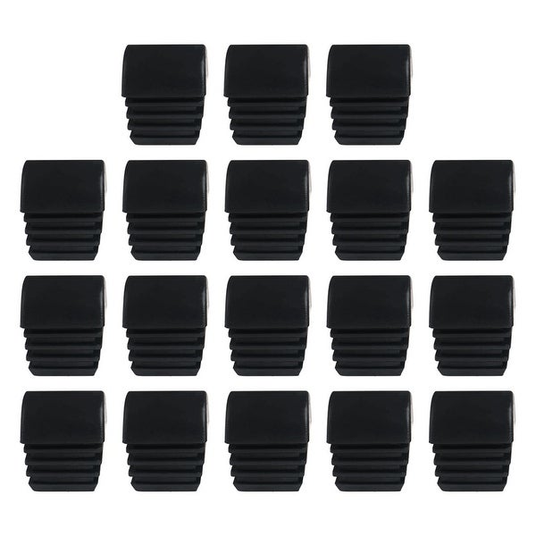 "18pcs 3/4"" 20mm OD Plastic Domed Square Tube Ribbed Inserts Finished Cover, 0.68"" to 0.75"", Floor Furniture Desk Protector"