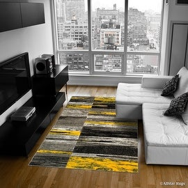 """Yellow Allstar Modern. Contemporary Woven Rug. Drop-Stitch Weave Technique. Carved Effect. Vivid Pop Colors (7' 10"""" x 10')"""