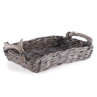 Weathered Gray and Beige Faux Antler and Rope Wrapped Handle Handwoven Rectangular Tray - Brown