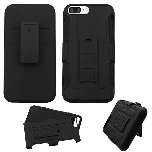 Insten Black Hard PC/ Silicone Dual Layer Hybrid Cover Case with Holster For Apple iPhone 7 Plus