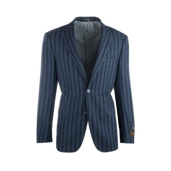 Sangria Royal Blue with Navy and Green Stripes Pure Wool Jacket by Tiglio Luxe. Opens flyout.
