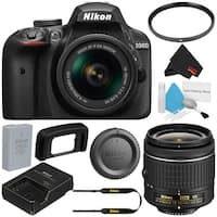 Nikon D3400 DSLR Camera with AF-P 18-55mm VR Lens (Black) 1571 International Model + 55mm UV Filter + Deluxe Cleaning Kit Bundle