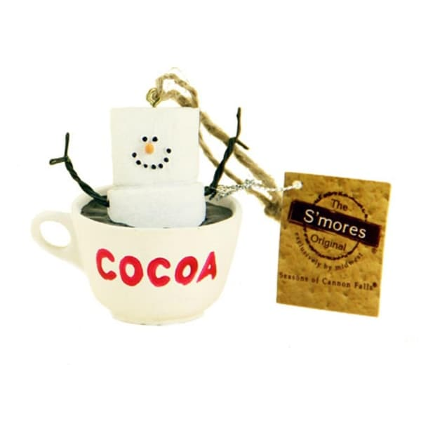 "2.5"" Chocolate Shop S'Mores Marshmallow Character Hot Cocoa Christmas Ornament - WHITE"