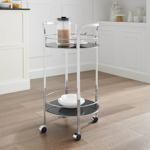 Felix 2-Teir Chrome and Black Glass Rolling Serving Cart