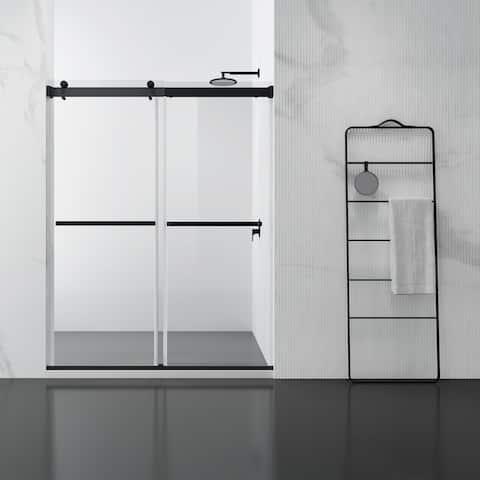 """Spezia 60"""" W x 76"""" H Double Sliding Frameless Shower Door in Matt Black - W 60"""" x H 76"""""""