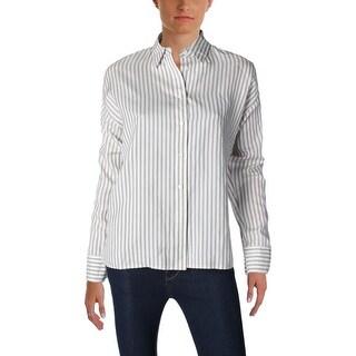 Vince Womens Button-Down Top Silk Striped