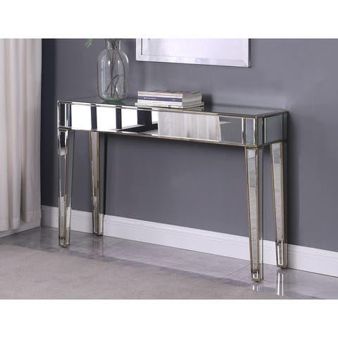 Best Master Furniture Silver Mirrored Metallic Gold Sofa Table