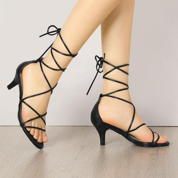 Women/'s Strappy Kitten Heel Lace Up Sandals