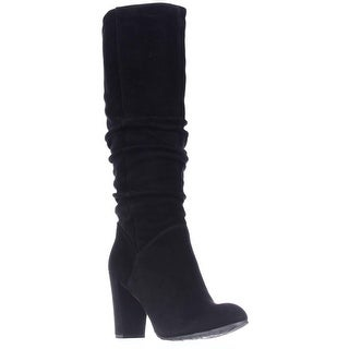 Nine West Shiryl Tall Slouch Pull On Boots, Black Suede