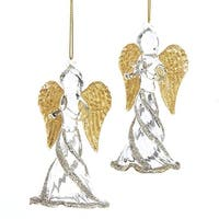 """Pack of 6 Golden Colored and Silvery Colored Glittering Finished Angel Ornaments 4.5"""" - silver"""