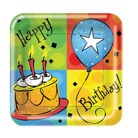 8 Pack 6 7/8 Square Luncheon Plate Cake Celebration - Multi