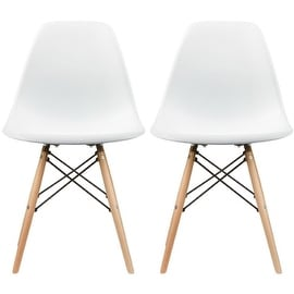 "2xhome - Set of Two (2) - White - New Seat Height 18.5"" Eames Style Side Chair Natural Wood Legs Eiffel Dining Room Chair"