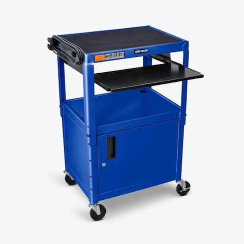 Adjustable Height Royal Blue Metal A/V Cart w/ Keyboard Tray & Cabinet