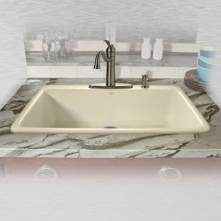 "Miseno MCI53-4TM 33"" Single Basin Drop In Cast Iron Kitchen Sink"