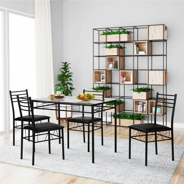 VECELO Dining Table Set, Glass Table and 4 Chairs Metal Kitchen Room Furniture  5 Pcs (Black)