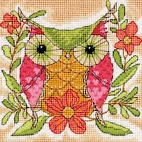 """Whimsical Owl Mini Needlepoint Kit-5""""X5"""" Stitched In Thread"""