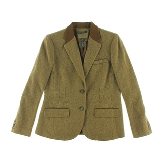 Lauren Ralph Lauren Womens Wool Suede Trim Casual Blazer - 16