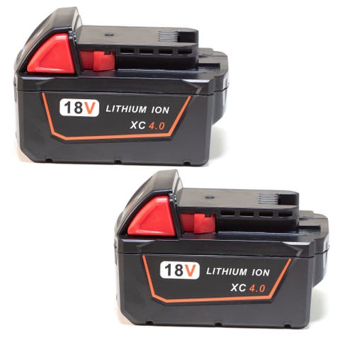 Replacement Battery For Milwaukee M18 Power Tools - 48-11-1840 (4000mAh, 18V, Li-Ion) - 2 Pack