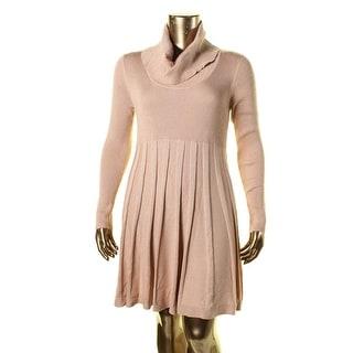 Calvin Klein Womens Cowl Neck Metallic Sweaterdress