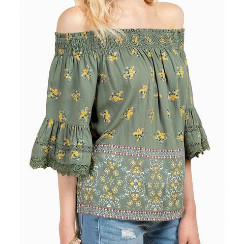 Angie Green Womens Size Large L Crochet Off Shoulder Floral Blouse