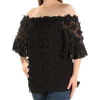 Womens Black Short Sleeve Off Shoulder Top  Size  6
