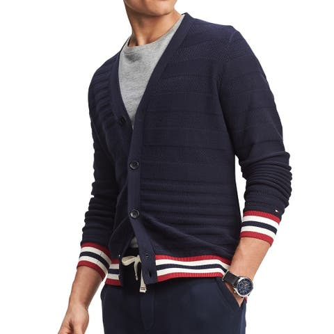 Tommy Hilfiger Mens Sweater Navy Blue Size XL Button-Front Cardigan
