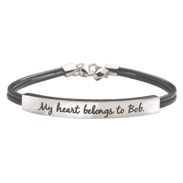Women's Stainless Steel Bracelet Engraved With My Heart Belongs To Bob - Silver