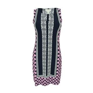 Charter Club Women's Geo Print Split Neck Sheath Dress - petite