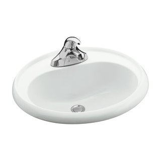 "Sterling 75010140  20"" Vikrell Drop In Bathroom Sink With Three Holes Drilled And Overflow - White"