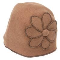 Womens Cuffless Winter Beanie w/ Floral Piece