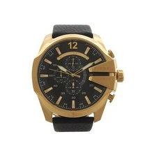 Diesel Dz4344 Chronograph Mega Chief Black Leather Strap Watch Watch For Men