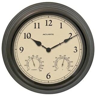 "Acu-Rite 01063A1SB Combo Clock w/ Thermometer & Hygrometer, Copper Patina, 15"""