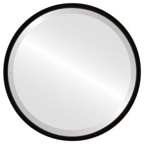 London Framed Round Mirror - Rubbed Black - Rubbed Black