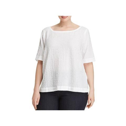 Eileen Fisher Womens Plus T-Shirt Bateau Neck Daytime