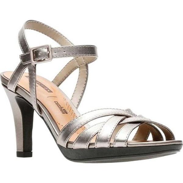 92950dabb9e Clarks Women  x27 s Adriel Wavy Heeled Sandal Pewter Full Grain Leather