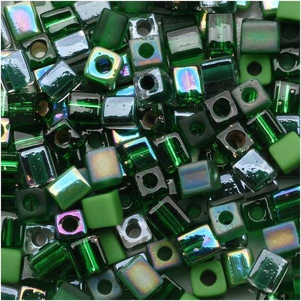 Miyuki 4mm Glass Cube Bead Mix Green Medley 10 Grams