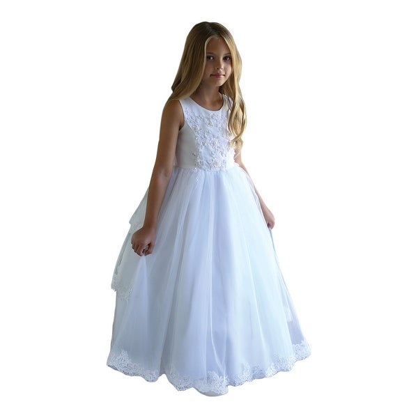 ee778d075b4 Angels Garment Girls White Satin Tulle Lace Trim Bolero Communion Dress